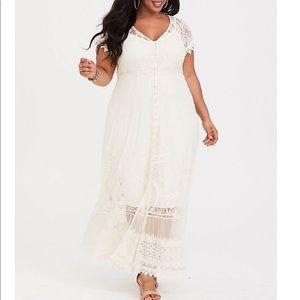 Torrid Ivory Lace Maxi Dress, Sz 00X = 10, NWT